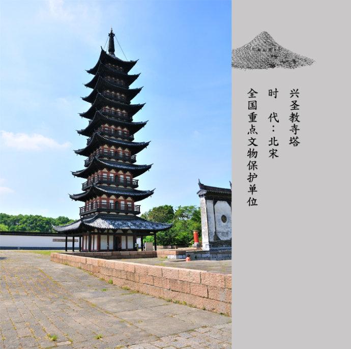 5米,四面九级,因塔的平面呈四方形而俗称方塔.